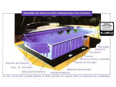 Modelos tipos formas medidas piscinas multiforma for Partes de una piscina